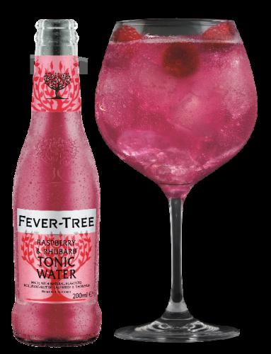 Raspberry & Rhubarb Tonic Water Flasche mit Glas