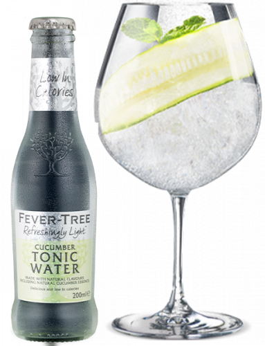 Refreshingly Light Cucumber Tonic Water and Cocktail
